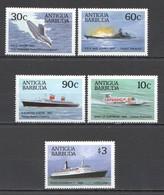 WW894 ANTIGUA & BARBUDA TRANSPORT FAMOUS SHIPS #1033-37 MICHEL 10 EURO SET MNH - Boten