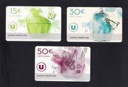 3  Carte Cadeau Super U   MONTLUEL (01).    Gift Card. Geschenkkarte - Cartes Cadeaux