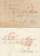 155/28 - PAYS BAS - Ensemble De 4 Lettres Non Affranchies Vers France Ou Belgique (1829/1862) - Marques D' Entrées Diff. - Pays-Bas