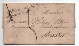 """1847 - LETTRE Avec MP """"LE DIRECTEUR DES DOUANES A BASTIA"""" (CORSE) - Marcofilia (sobres)"""