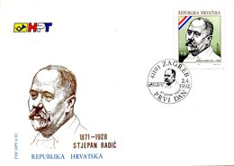 CROATIE. N°152 De 1992 Sur Enveloppe 1er Jour (FDC). Stjepan Radic. - Croatia