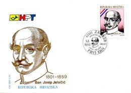 CROATIE. N°148 De 1992 Sur Enveloppe 1er Jour (FDC). Josip Jelacic. - Croatia