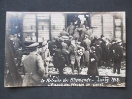 LUXEMBOURG - GARE, La Retraite Des Allemands, L'Assaut Des Wagons De Vivres - Carte-photo 1918 - Luxembourg - Ville