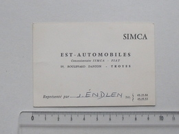 TROYES (10): Publicité Ancienne Carte De Visite EST-AUTOMOBILES Concessionnaire SIMCA Et FIAT - ENDLEN - Publicités