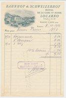 Factuur / Brief Locarno 1931 - Hotel Bahnhof & Schweizerhof - Suisse