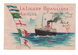 CARTOLINA POSTALE  LA LIGURE BRASILIANA GENOVA - Pubblicitari
