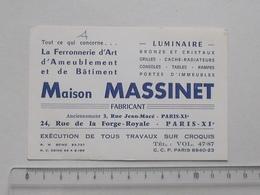 PARIS: Publicité Ancienne Carte De Visite FERRONNERIE D'Art D'Ameublement Et De Bâtiment - Maison MASSINET - Luminaire - Publicités