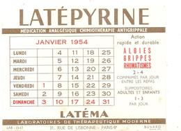 Buvard LATEPYRINE Médication Analgésique Laboratoires De Thérapeutique Modene à Paris Calendrier Janvier 1954 - Chemist's