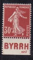 PUBLICITE: SEMEUSE 30C BRUN ROUGE BYRRH-viril BAS ACCP 156 NEUFS** - Advertising