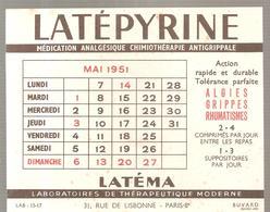 Buvard LATEPYRINE Médication Analgésique Laboratoires De Thérapeutique Modene à Paris Calendrier Mai 1951 - Chemist's