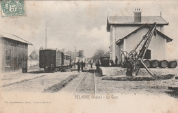 CPA: BELABRE (36) TRAIN EN GARE  .ÉCRITE - France