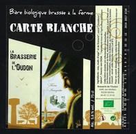 Etiquette Biere  BIO Carte Blanche   5,6% 75cl   Brasserie  De L'Oudon Méral 53 - Bière