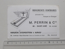 SAINT-AME (88): Publicité Ancienne Carte De Visite MONUMENTS FUNERAIRES PERRIN & CIE - Granit - Magasin à NANCY - Publicités