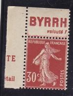 PUBLICITE: SEMEUSE 30C BRUN ROUGE BYRRH-velouté HAUT ACCP 147 NEUFS** - Advertising