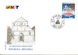 CROATIE. N°194 De 1993 Sur Enveloppe 1er Jour (FDC). Pag. - Croatia