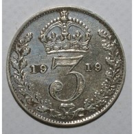 GRANDE BRETAGNE - KM 813 - 3 PENCE 1919 - GEORGE V - TTB - - Grossbritannien