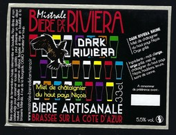 "Etiquette Biere  De La Riviera Dark Noire 5,5% 33cl   Brasserie Artisanale Riviera Beer St Raphaël ""aigle"" - Bière"