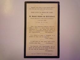 FAIRE-PART De Décès De  Marie-Henri De  BOISSAC   1902    XXX - Décès