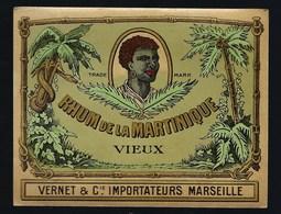 """Ancienne Etiquette  Rhum  Vieux De La Martinique Vernet & Cie Importateur Marseille """"visage"""" étiquette Vernie - Rhum"""