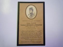 FAIRE-PART De Décès De  Louise  AZAÏS  Comtesse De BEYNAGUET De  PENNAUTIER   1902    XXX - Décès