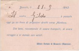 1943 SEGNALAZIONE DI PASSAGGIO Bozzolo (23.9) Su Cartolina Prestampata Manoscritto Fori Spillo - 4. 1944-45 Social Republic