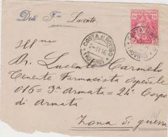 1916 CROCE ROSSA C.10+c.5 Isolato Su Frontespizio Di Busca Costa Di Rovigo (2.11) - 1900-44 Vittorio Emanuele III