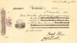 1906 Trinidad; Scheck über 200 Dollar Mit 6 Pence Steuermarke - Chèques & Chèques De Voyage