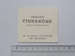 REIMS (51): Publicité Ancienne Carte De Visite Restaurant CINNAMOME - Rue CHANZY - Publicités