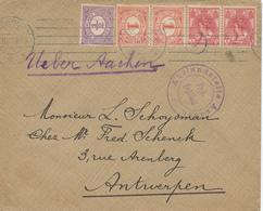 165/28 - Lettre TP NL SCHEVENINGEN 1915 Vers ANTWERPEN - Ueber Aachen Et Censure AACHEN - 1891-1948 (Wilhelmine)