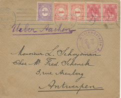 165/28 - Lettre TP NL SCHEVENINGEN 1915 Vers ANTWERPEN - Ueber Aachen Et Censure AACHEN - Lettres & Documents