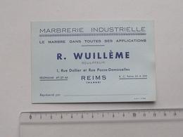 REIMS (51): Publicité Ancienne Carte De Visite MARBRERIE INDUSTRIELLE WUILLEME - Sculpteur Marbre - Rue Dallier - Publicités