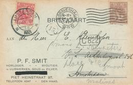 166/28 - Carte Privée TP NL S' GRAVENHAGE 1921 Vers AMSTERDAM , Réexpédiée Avec TP Complémentaire En Belgique - Lettres & Documents