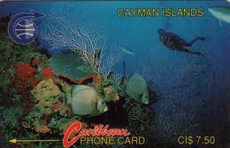 TARJETA TELEFONICA DE ISLAS CAYMAN. Diver In Reef (Old Logo) (2CCIA) (911) - Isole Caiman