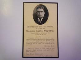 FAIRE-PART De Décès De  Gabriel  ROUSSEL   1922   XXX - Décès