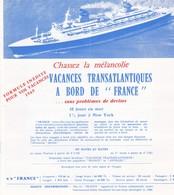 Vacances Transatlantiques à Bord De FRANCE, Livret Tarifs, Calendriers, Informations - Bateaux