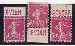 PUBLICITE SEMEUSE 30C ROSE EVIAN X3 ACCP N°96/97/98 NEUFS - Advertising