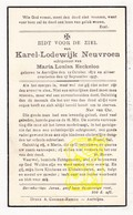 DP Karel Lodewijk Neuvroen ° Aartrijke Zedelgem 1872 † 1937 X Marie L. Eeckeloo - Devotion Images