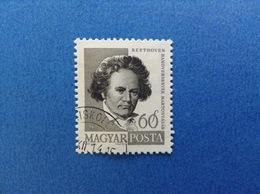 1960 UNGHERIA MAGYAR POSTA PERSONAGGI FAMOSI BEETHOVEN 60 F FRANCOBOLLO USATO STAMP USED - Used Stamps