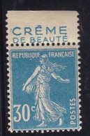 PUBLICITE: SEMEUSE 30C BLEU CREME DE BEAUTE ACCP 124 HAUT NEUFS** - Advertising