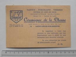 SAINT-LEGER-SUR-DHEUNE (71): Publicité 1969 Carte De Visite CERADHEUNE Céramique Faïence Porcelaine Verrerie Poterie - Publicités