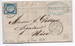 1876 - LETTRE De BRAZEY EN PLAINE (COTE D'OR) Avec TàD SUR LE TIMBRE & BUREAU DE PASSE 1307 AU DOS - Marcophilie (Lettres)