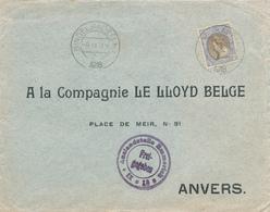168/28 - Lettre TP Wilhelmina 17 1/2 Cent BINGELRADE 1918 Vers ANVERS - 90 Gld Op Brief - Censure Emmerich - Lettres & Documents