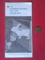 SPAIN DOCUMENTO TRÍPTICO OLD DOCUMENT RABBIT LAPIN LIÈVRE HARE HASE LIEBRE CONEJO RABBITS LA ALIMENTACIÓN DE LOS CONEJOS - Documentos Antiguos