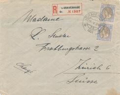 169/28 - Lettre Recommandée Paire TP Wilhelmina 17 1/2 Cent S' GRAVENHAGE 1921 Vers ZURICH - 240 Gld Op Brief - Lettres & Documents