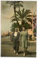 Homme Femme Street Rppc Carte Photo Promenade Anglais NICE Colorisé Hand Tinted Tampon Etoile Ciné Photographe - Places