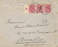 171/28 - Lettre TP Wilhelmina Bande De 3 X Non Dentelé 5 Cent AMSTERDAM 1923 Vers BRUXELLES - 70 Gld X 3 Op Brief - Lettres & Documents