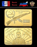 1 Lingot Plaqué OR ( GOLD Plated Bar ) - Fusil Ak-47 Kalachnikov URSS Russia CCCP - Autres Monnaies