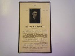 FAIRE-PART De Décès De  Donatien  MAHOT   1926   XXX - Décès