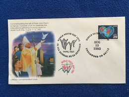 United States FDC Commemoration Of John Paul II's Visit To Denver On World Youth Day, 8/15/93 Papal Cover - Ersttagsbelege (FDC)