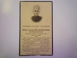 FAIRE-PART De Décès De  Mme  Yvonnick  GUILLOTIN De CORSON  Née Elisabeth ROUSSEAU   1938   XXX - Décès